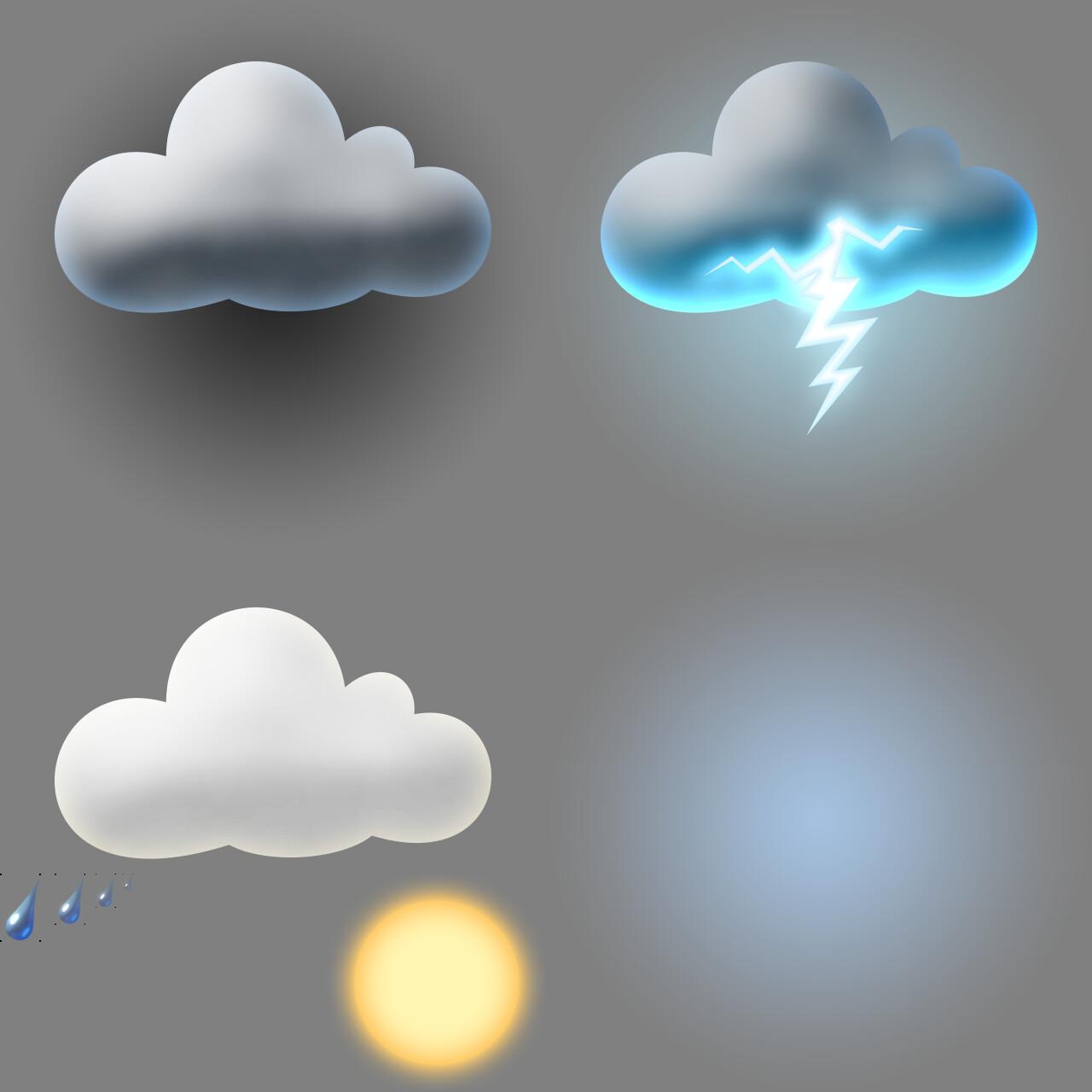 Ingame sprite sheet for weather sprites (photoshop)