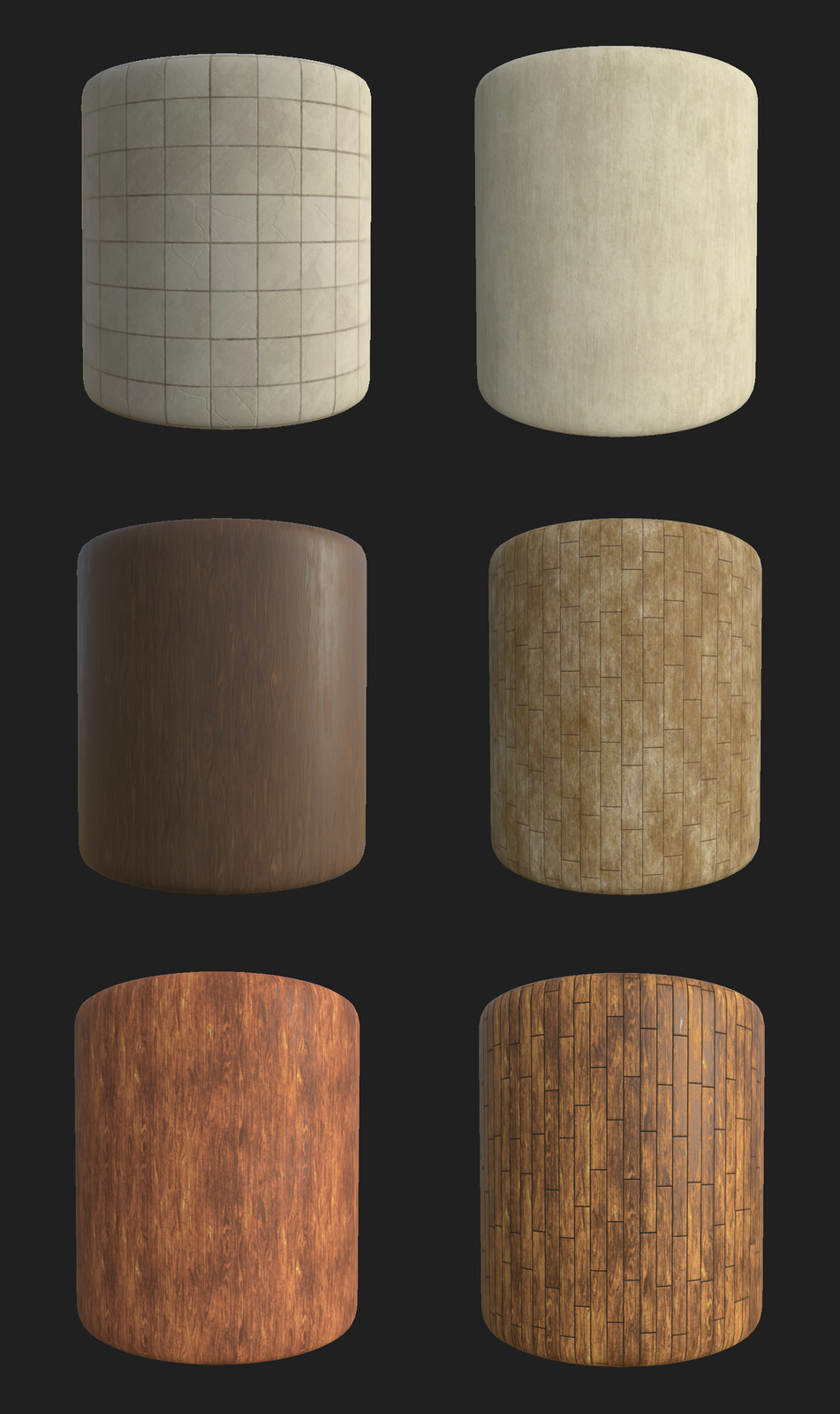 Various materials from Substance Designer for base tiling textures.