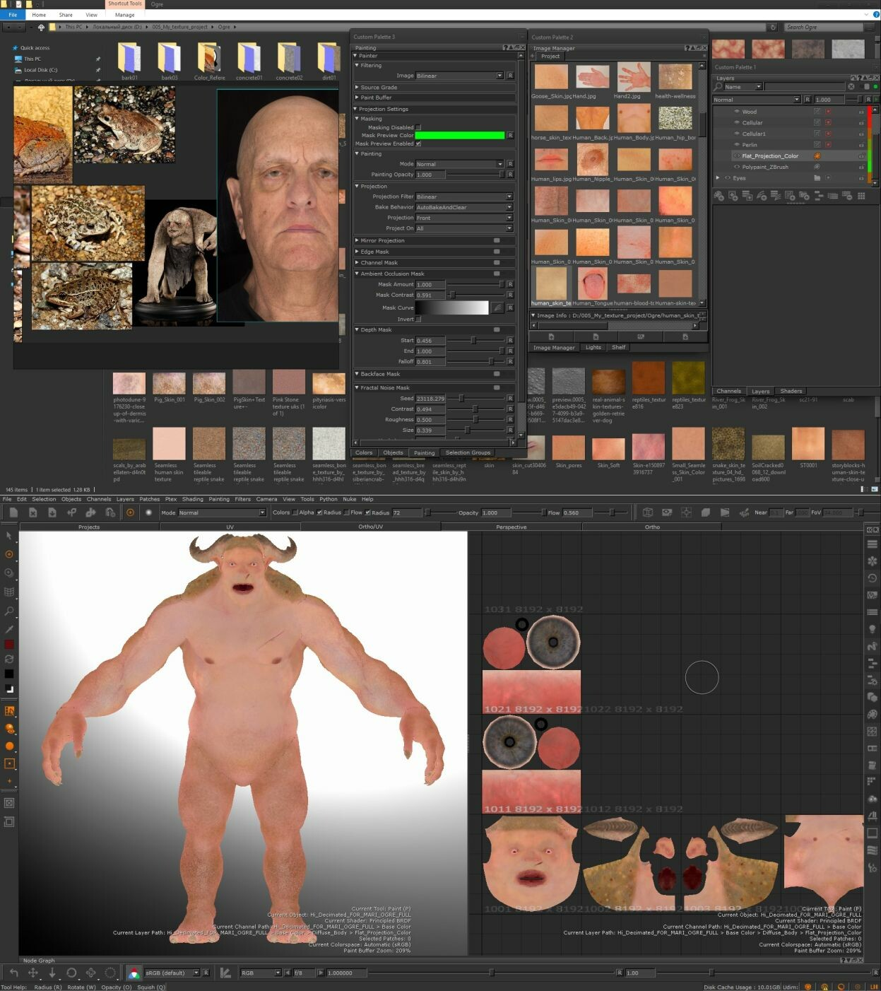 Ogre had a lot of textures spread across multiple UDIMs. Texturing done in Mari.