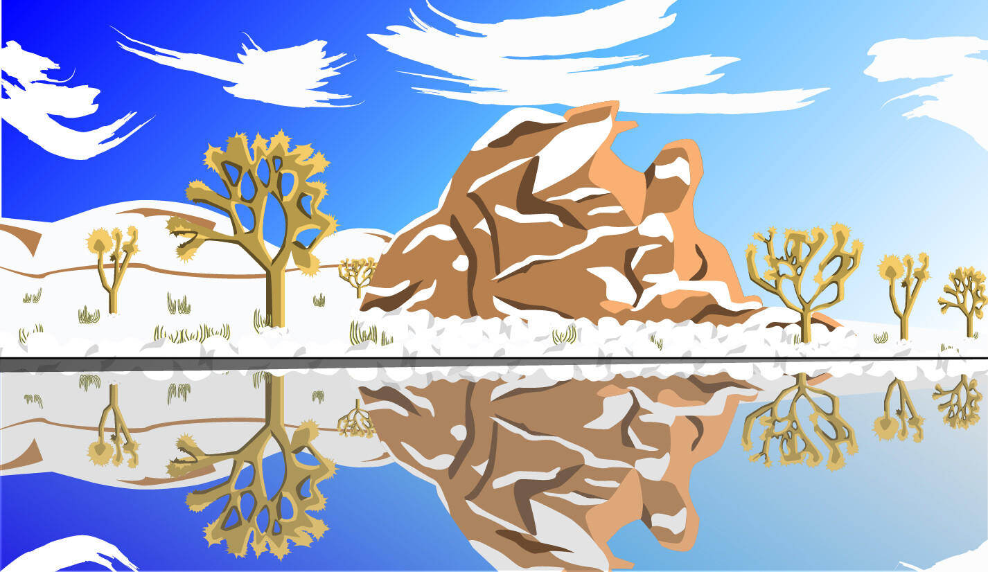 The vector version of a snowy and barren landscape