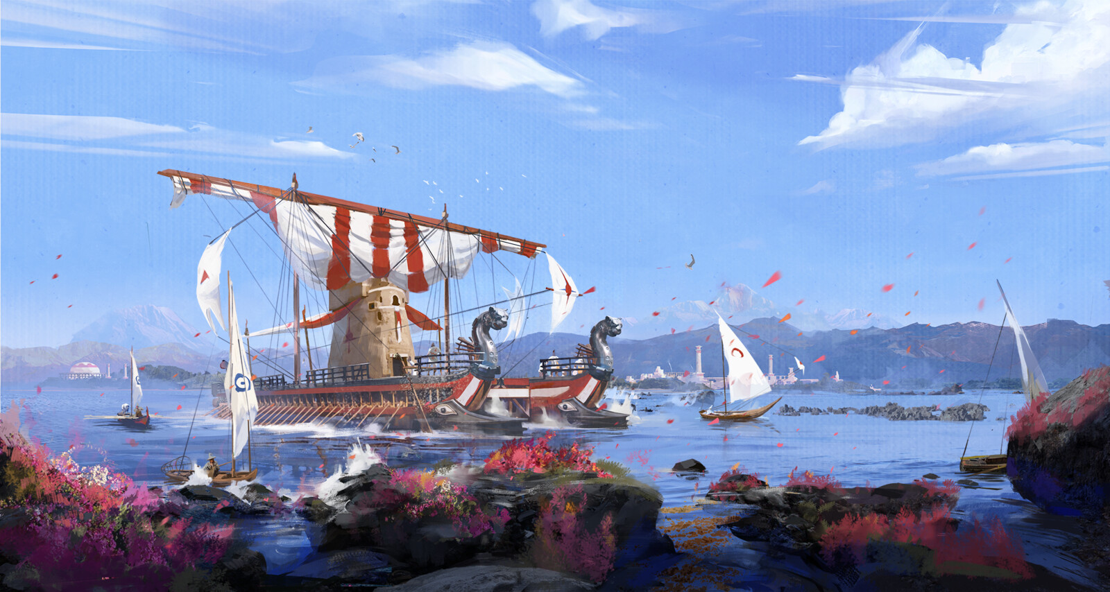 The Passage of the 'Hermeta' through the Crimson Strait - Illustration and design work