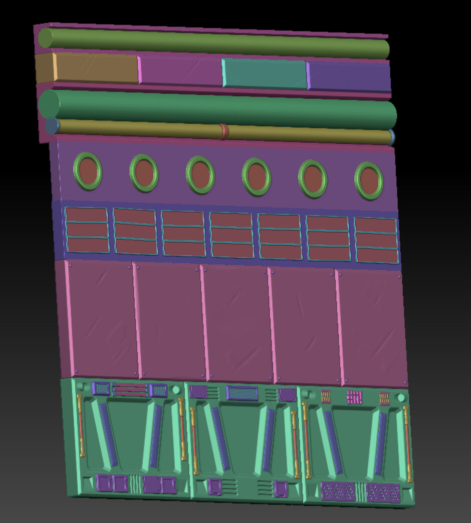 I used the trim-sheet method to texture the seabase components.  Here you can see the strips of trim in zbrush.