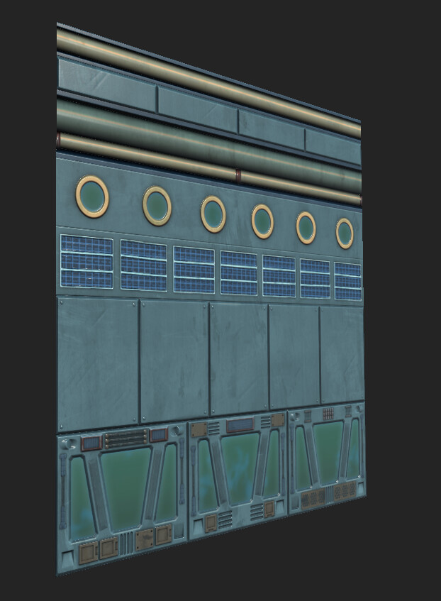 I baked the high-poly trim-sheet onto a quad and authored this tiling material in substance painter.