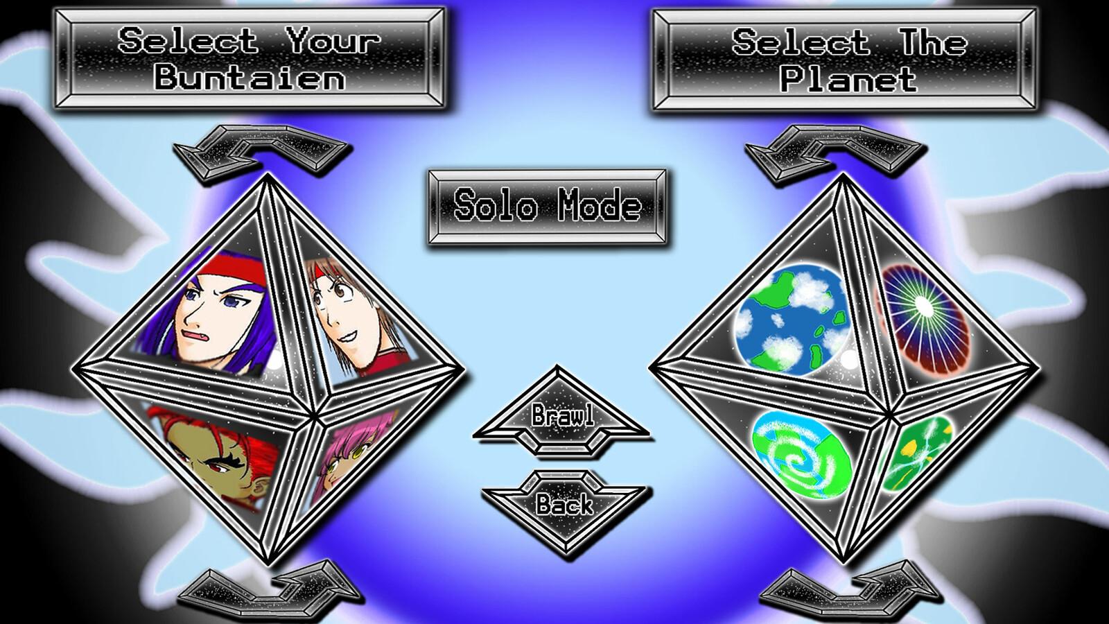 """""""Buntaien Brawlers"""" Solo Mode menu"""