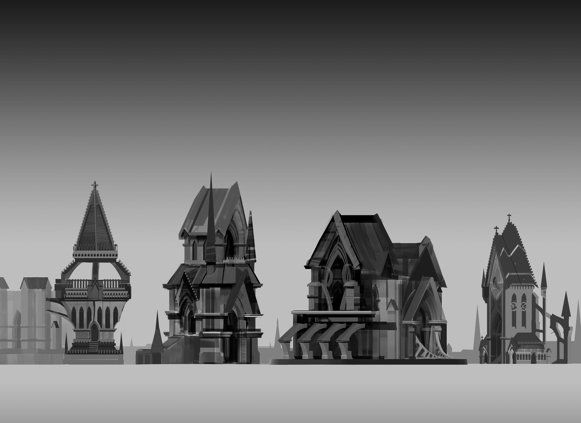 Architectural exploration. I wanted to push the gothic architectural style a little bit, but not necessarily to be busier than real life.