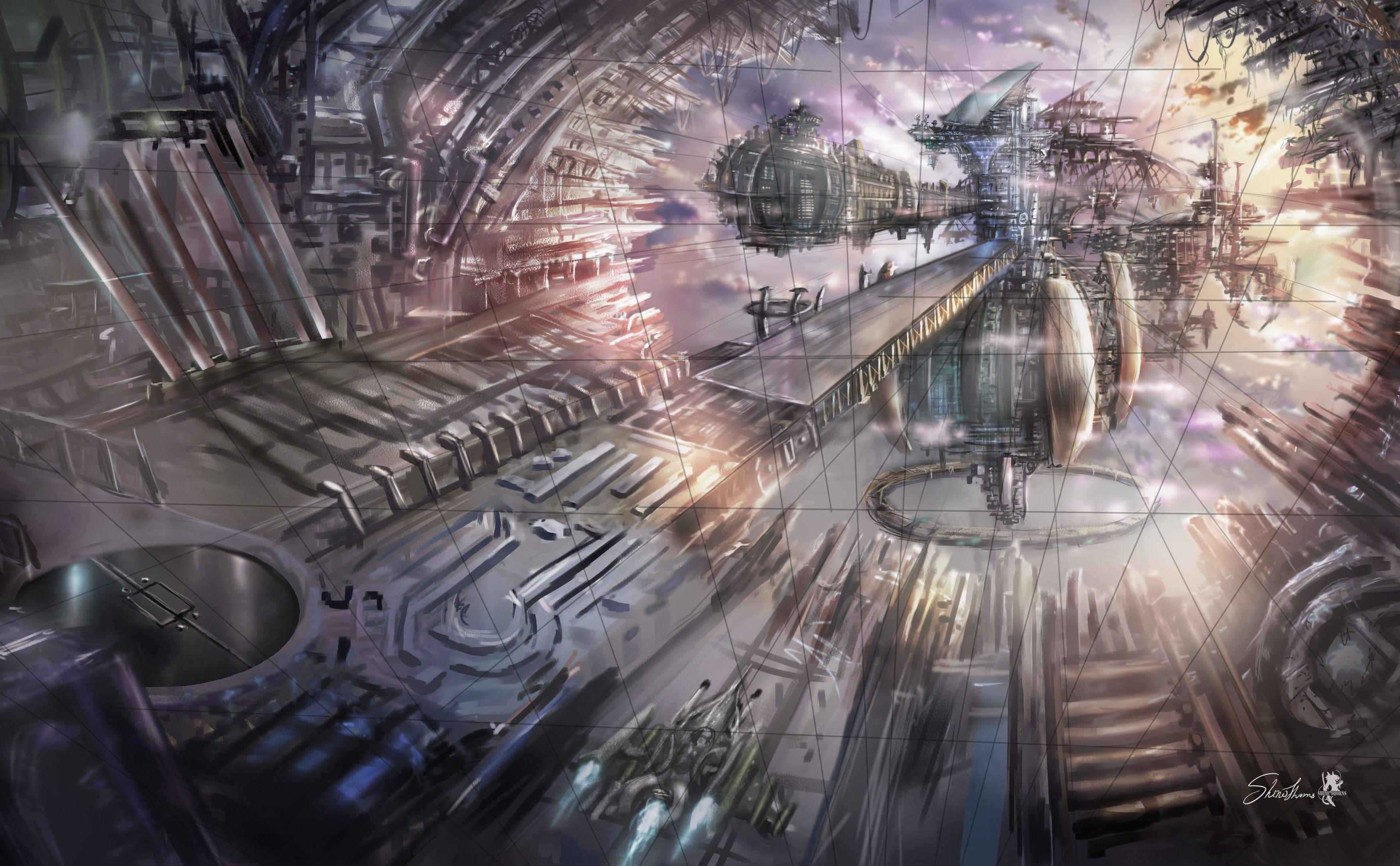 Scifi city  Antigravity flying boat station