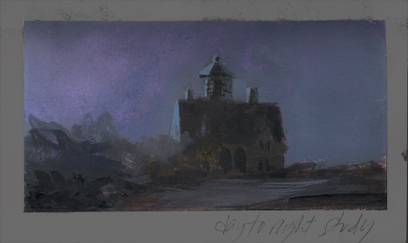 Day to Night Study; watercolor and gouache