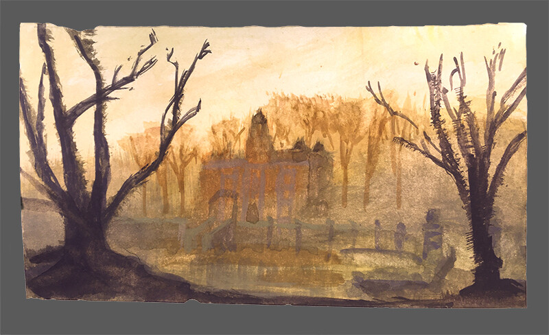 After John Atkinson Grimshaw, In The Gloaming; watercolor and gouache