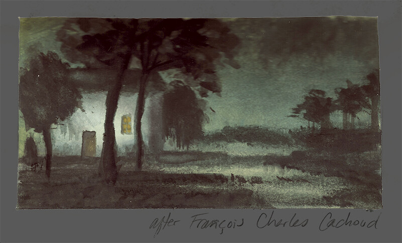 After Francois Charles Cachoud, A Village in the Moonlight; watercolor and gouache
