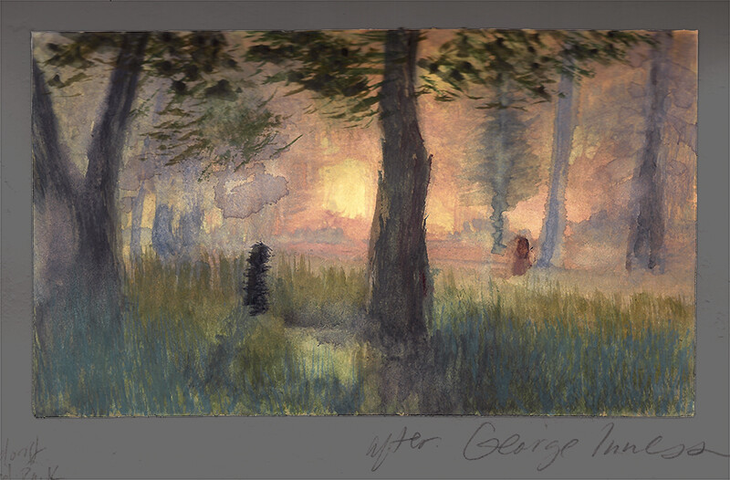 After George Inness, The Trout Brook; watercolor and gouache