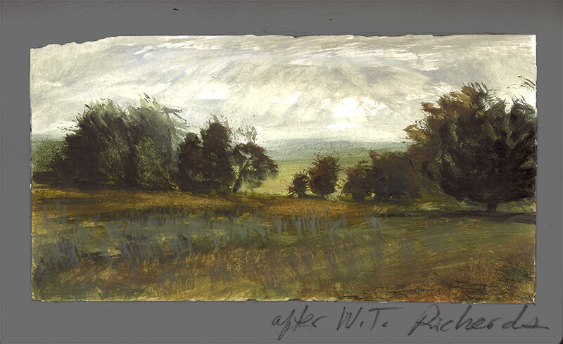 After William Trost Richards, Fallow Ground Chester County Pennsylvania; watercolor and gouache