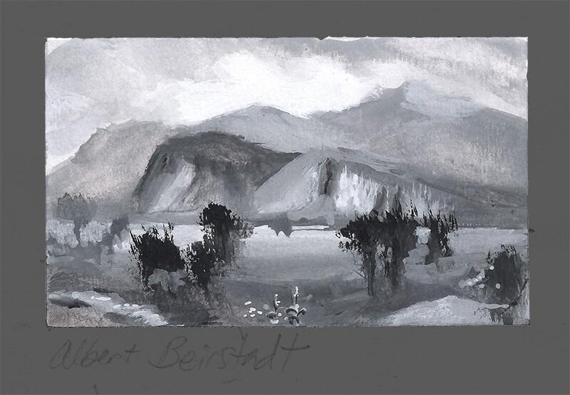 Tonal Study After Albert Bierstadt, Moat Mountain; gouache