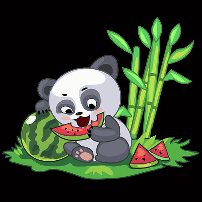 Andrey bychev andrey bychev panda with watermelon