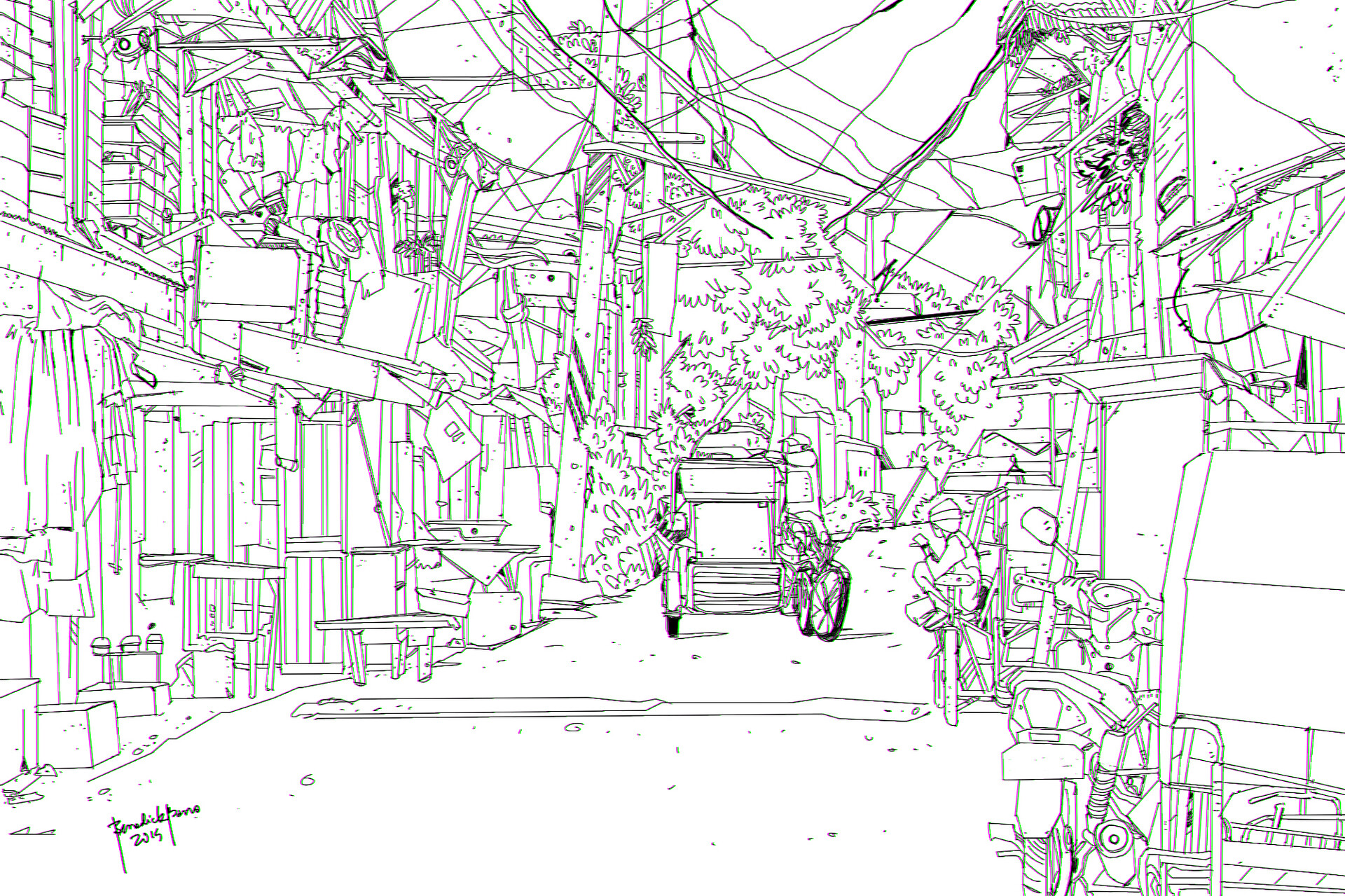 Street in the Philippines lineart study - ref used (image)