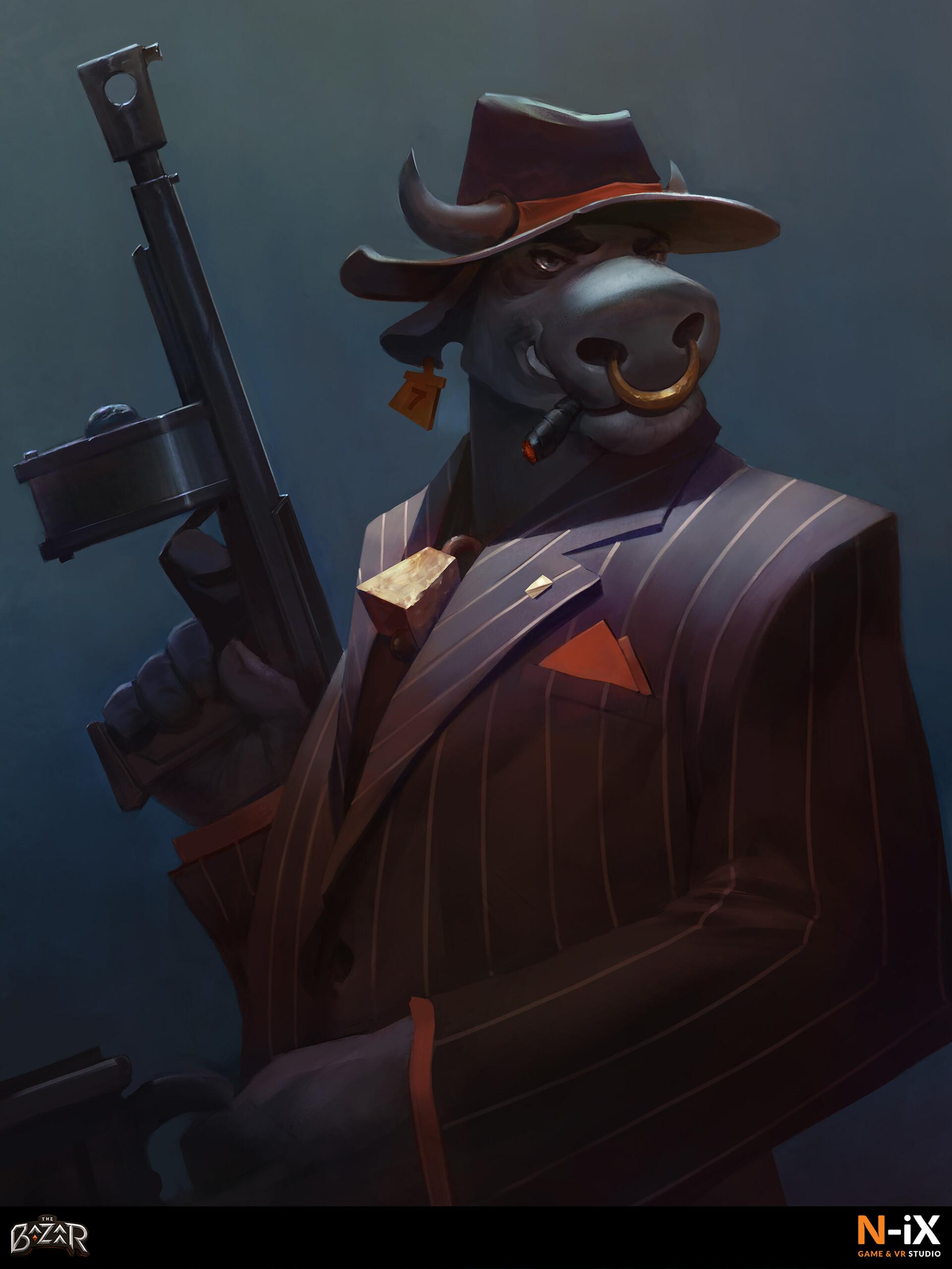 The Bazaar Gangster bull card artwork based on backers description