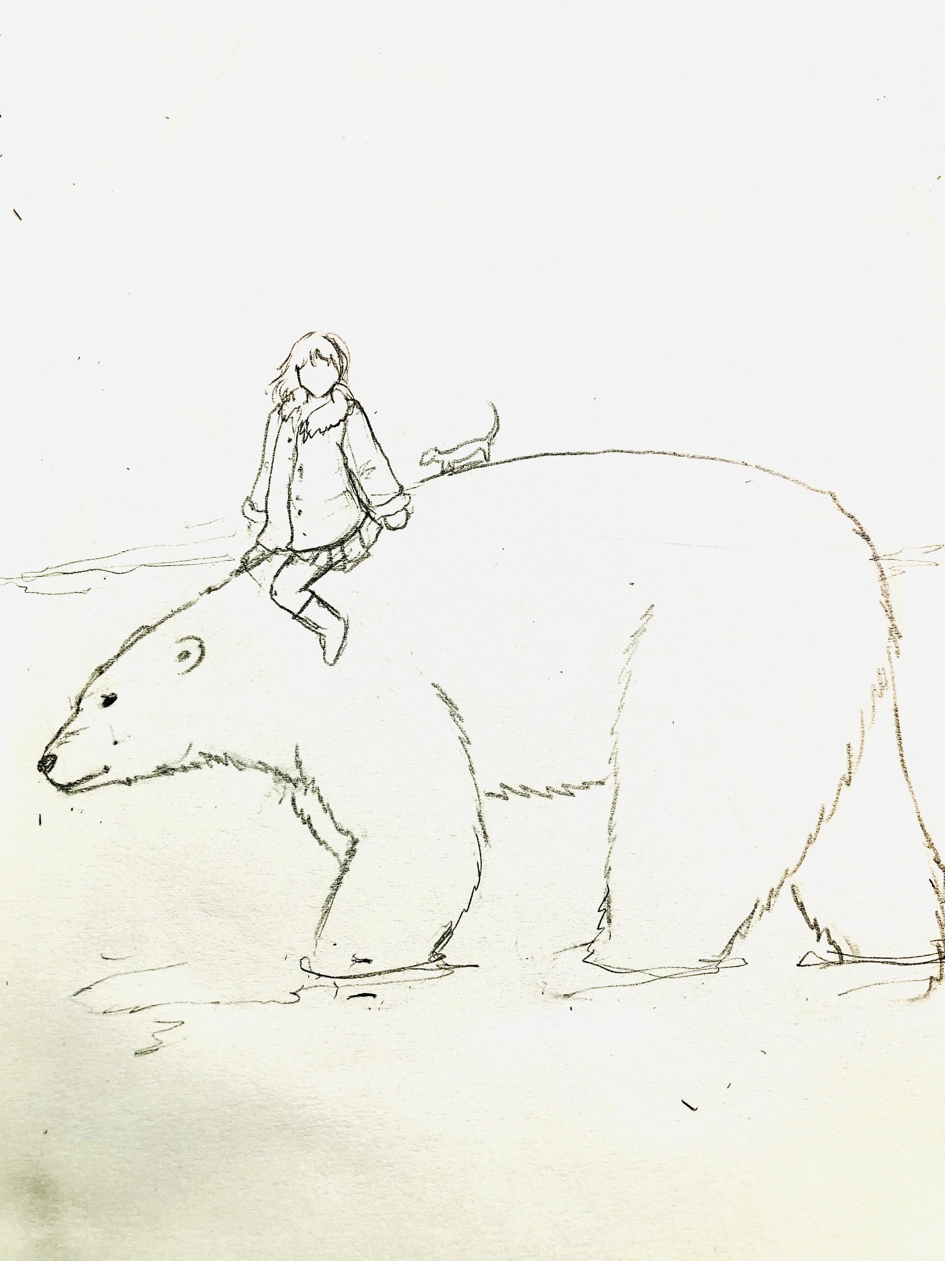 Pencil thumbnail sketch.