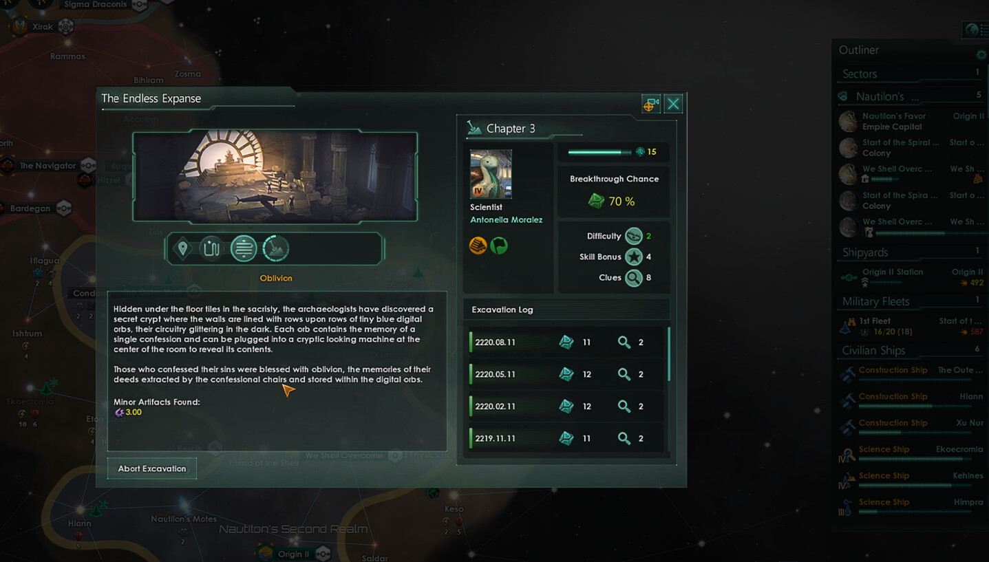 Stellaris: Antient Relics DLC Implementation example of Archaeology Event artwork into UI