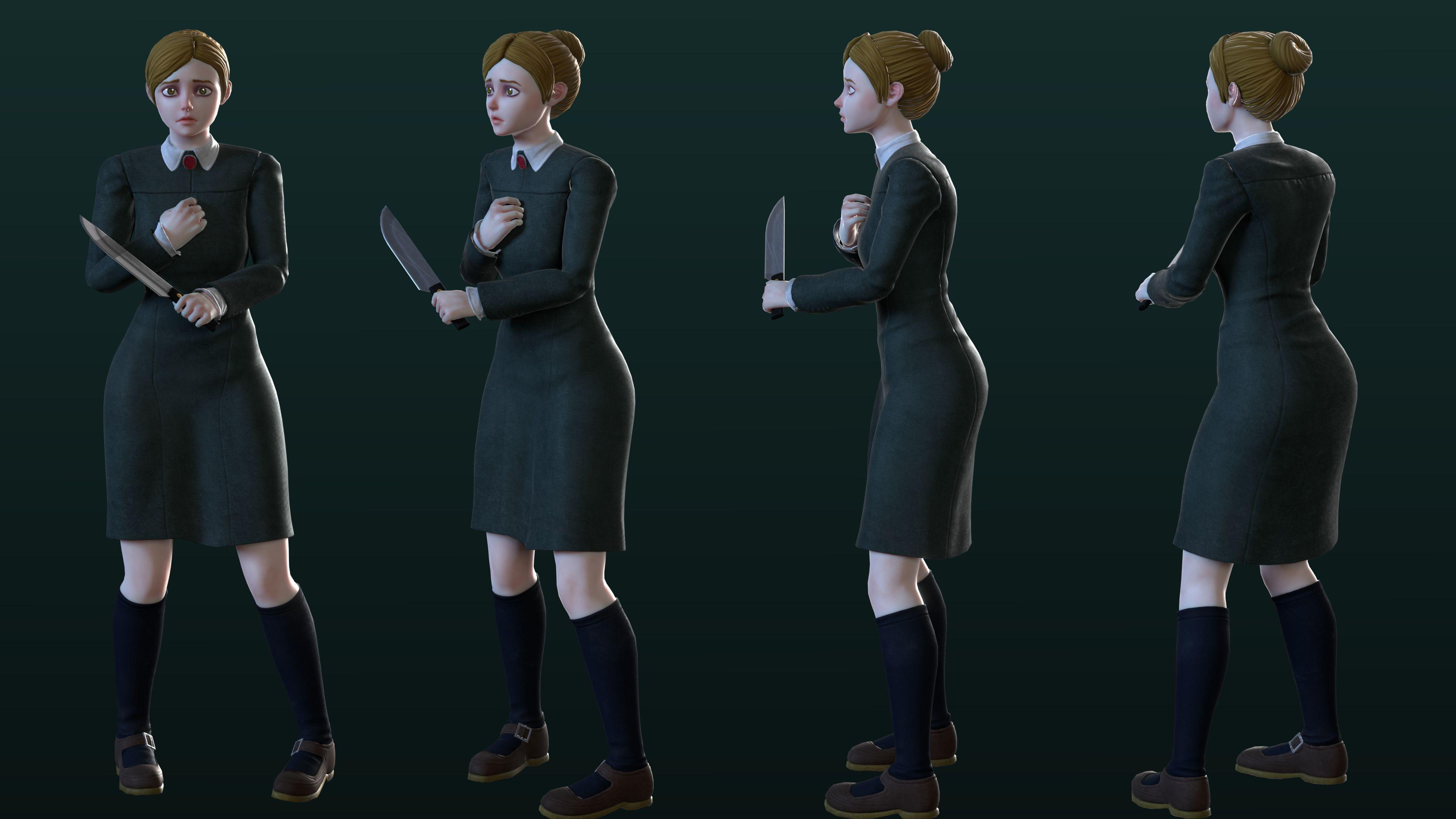 Jennifer low poly character rotation