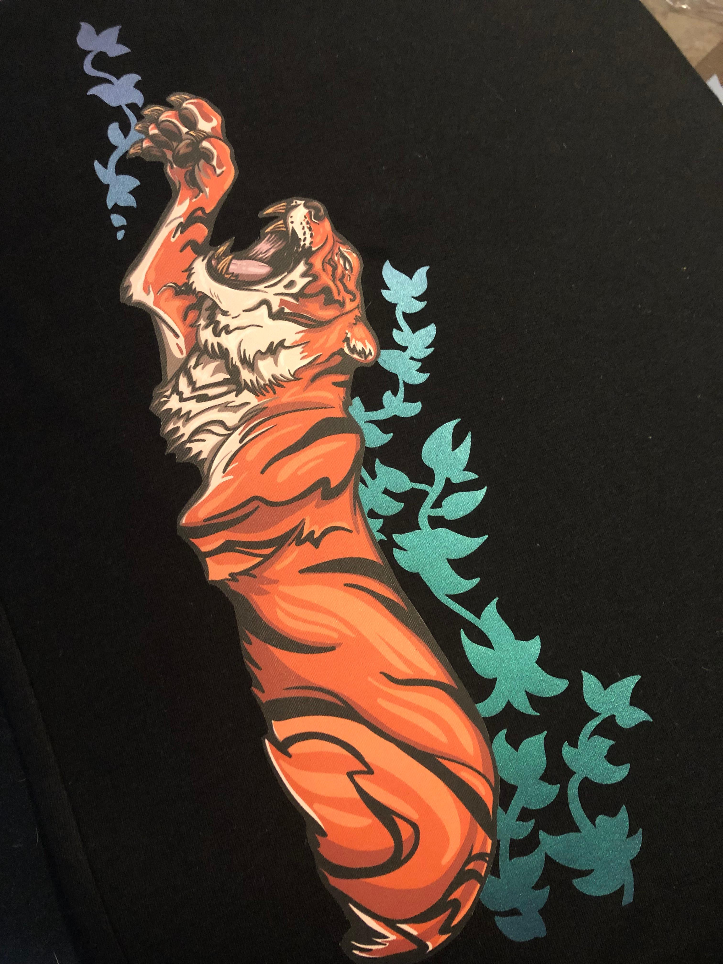 Printed vinyl heat transfer t shirt with color changing vinyl. eNVy Unltd. clothing brand.