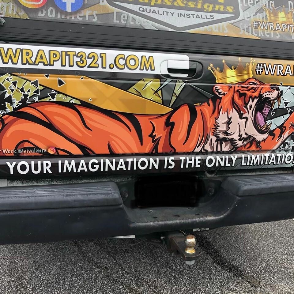 Tiger truck tailgate vehicle wrap.