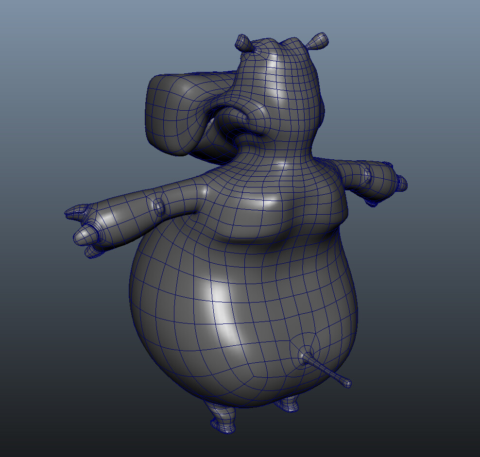 I modeled these animation ready Sub-D and Poly models of the tourist hippo character designed by Melissa Van Der Paardt under the direction of Joe Vance for a proposed Disney Mobile title. © Disney 2012