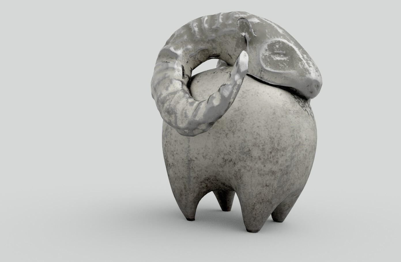 Mufflon Figurine Stone Render