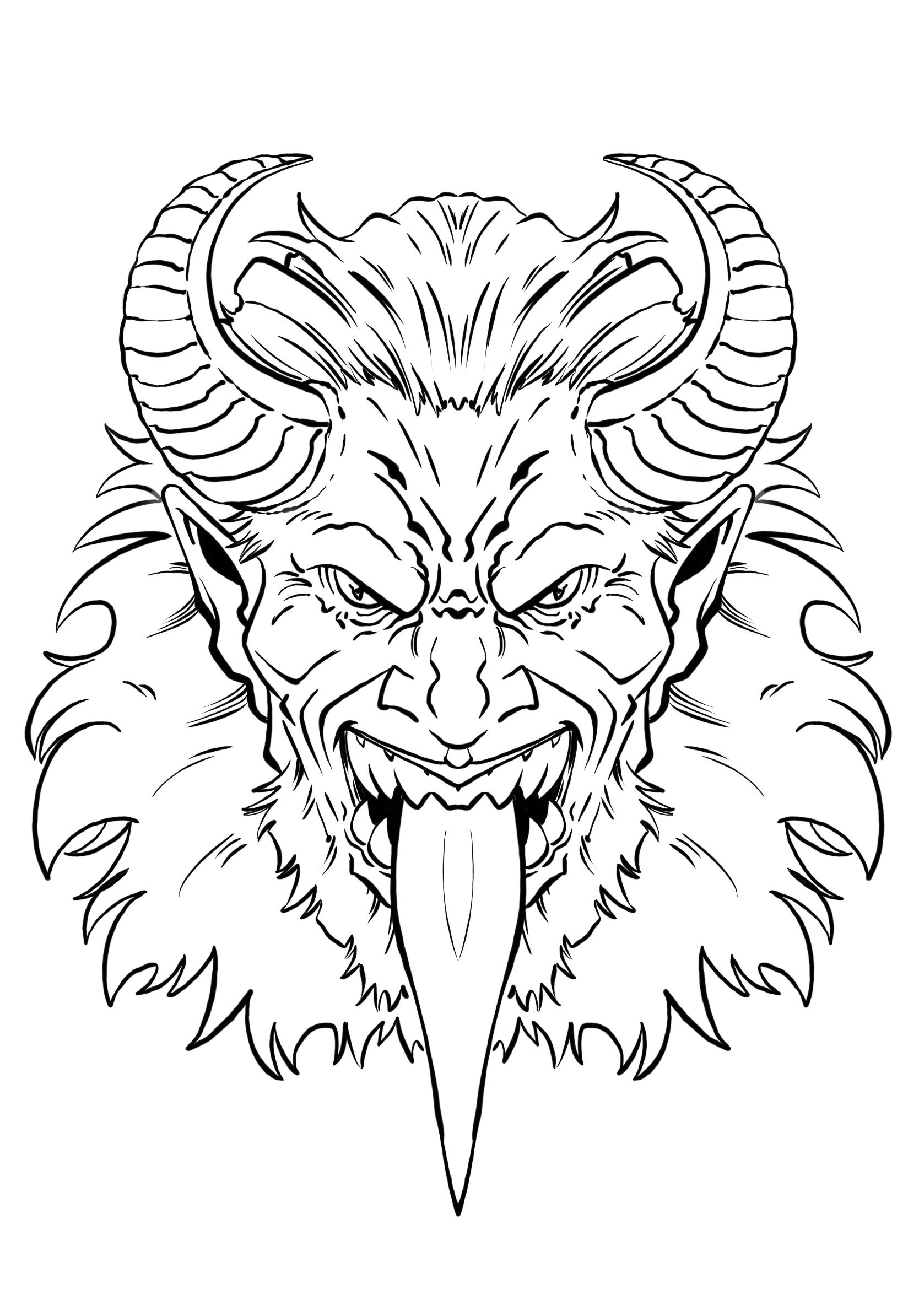 Inked sketch done in Autodesk Sketchbook, before vectors in Affinity Designer.