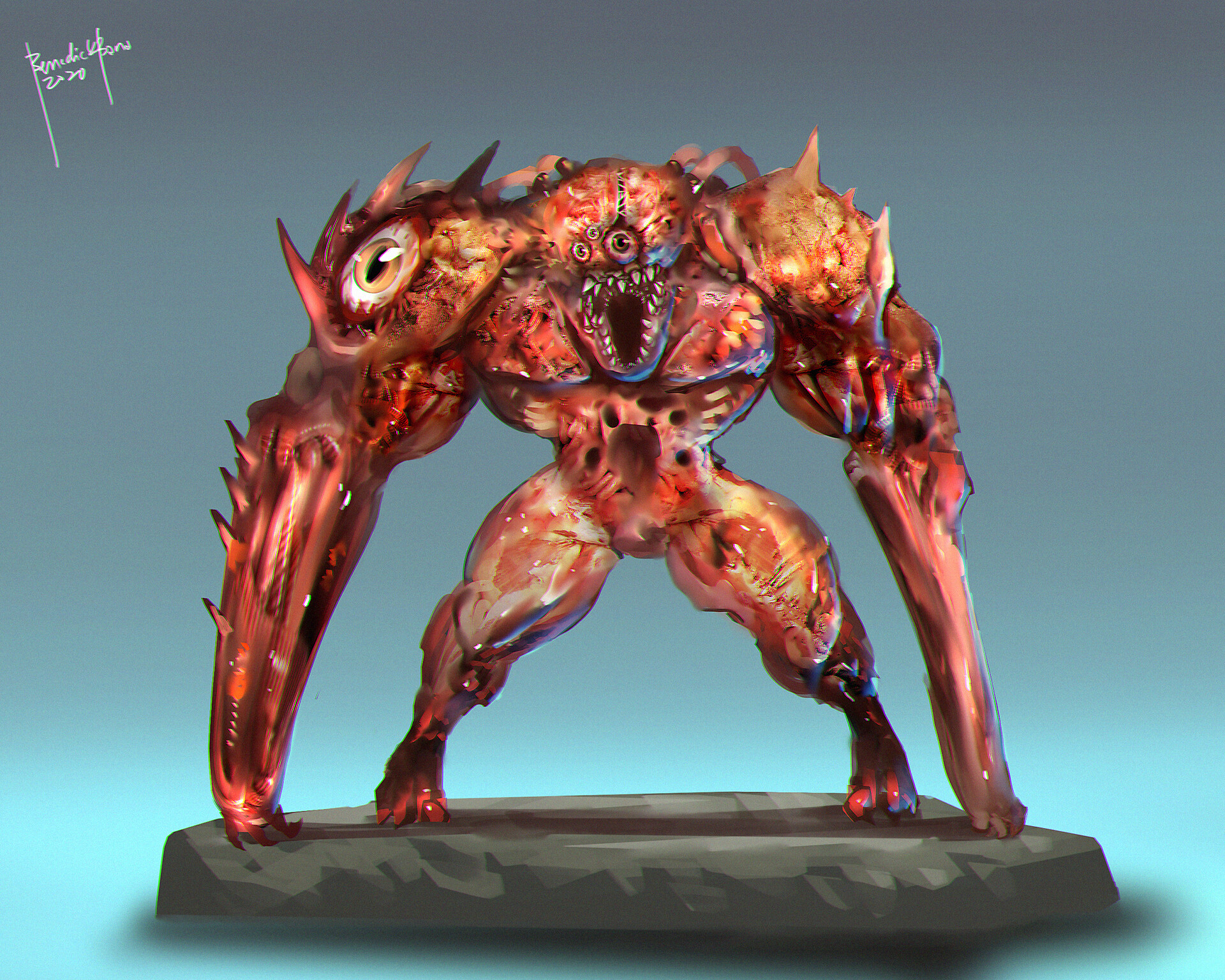 Flesh - RE inspired creature design. :D (not my style, it takes longer to finish this monster :D)