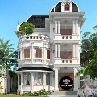 Neohouse architecture bia mau biet thu 3 tang kieu phap co dien