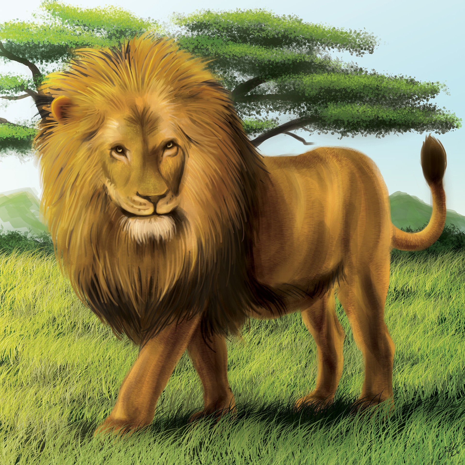 Tile illustration - Lion