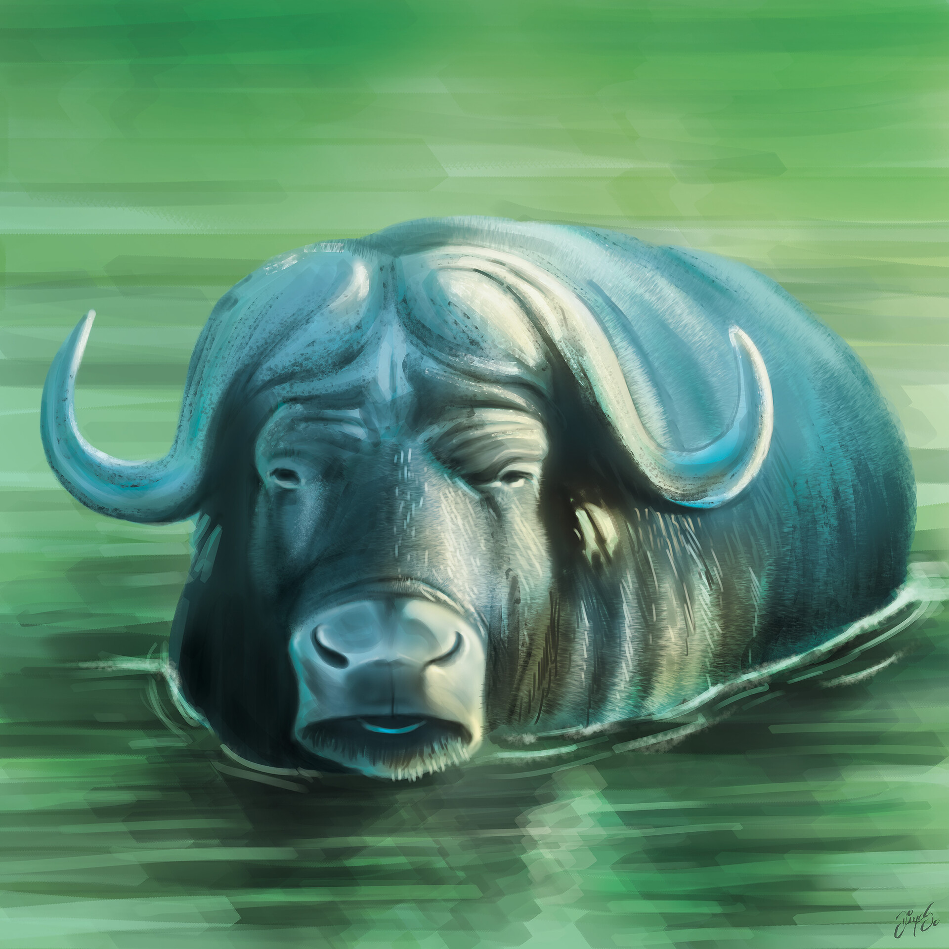 Tile illustration - Water buffalo