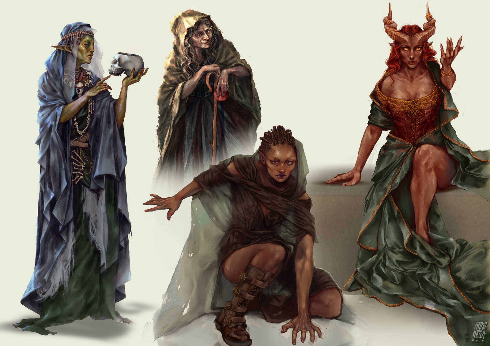 Secrets of Tomb, Feast, Phoenix and Domination Witch. (left to right)