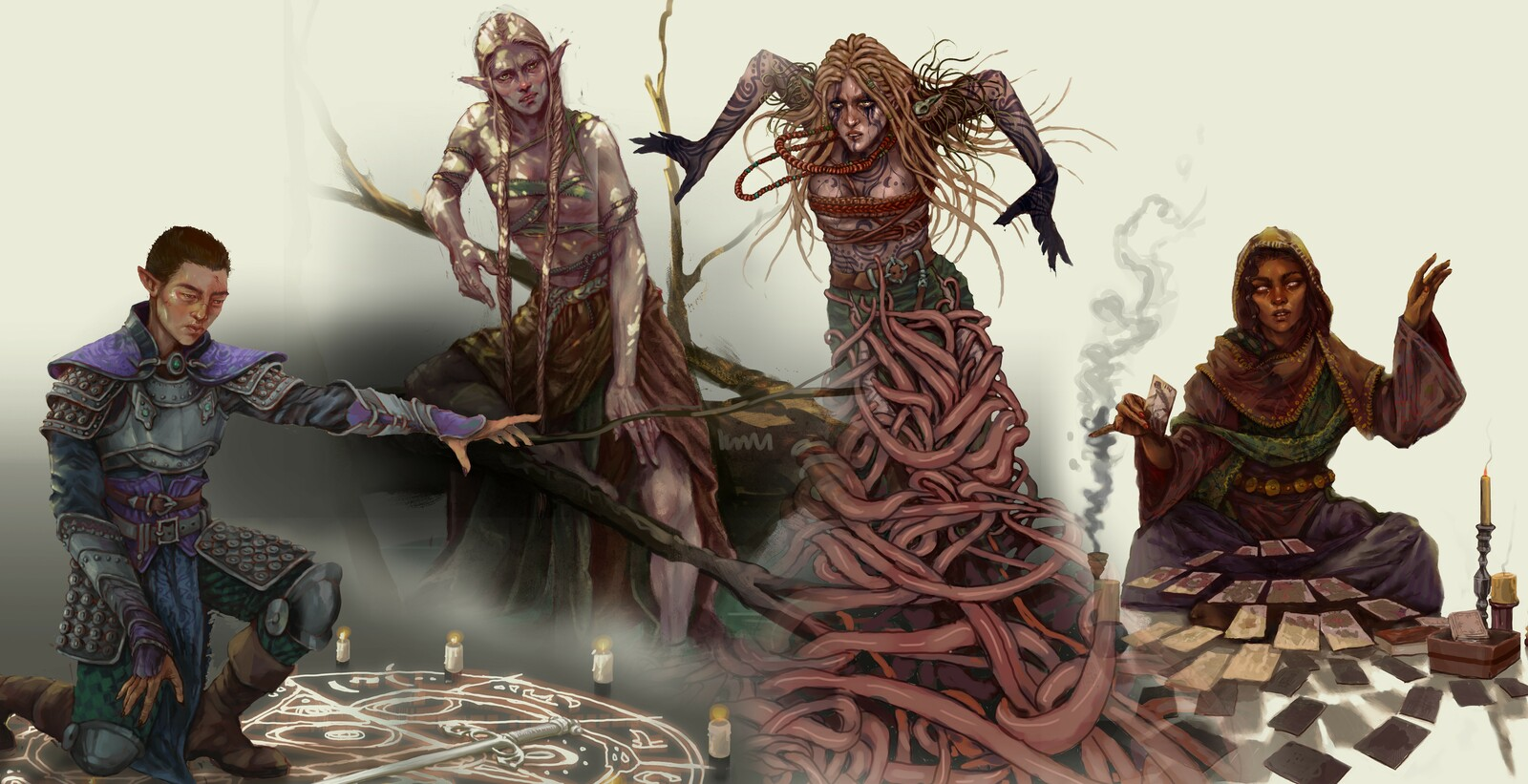 Fighter Archetype, Secrets of the Swamp witch , Druid - Circle of Vermiform and Secrets of Prophecy witch (left to right)