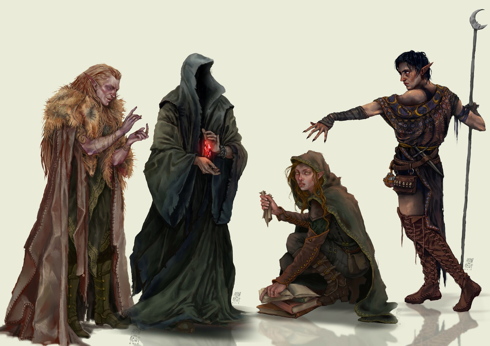 Secrets of Frost and Wraith witch, Rogue archetype and Secrets of Dreams witch (left to right)