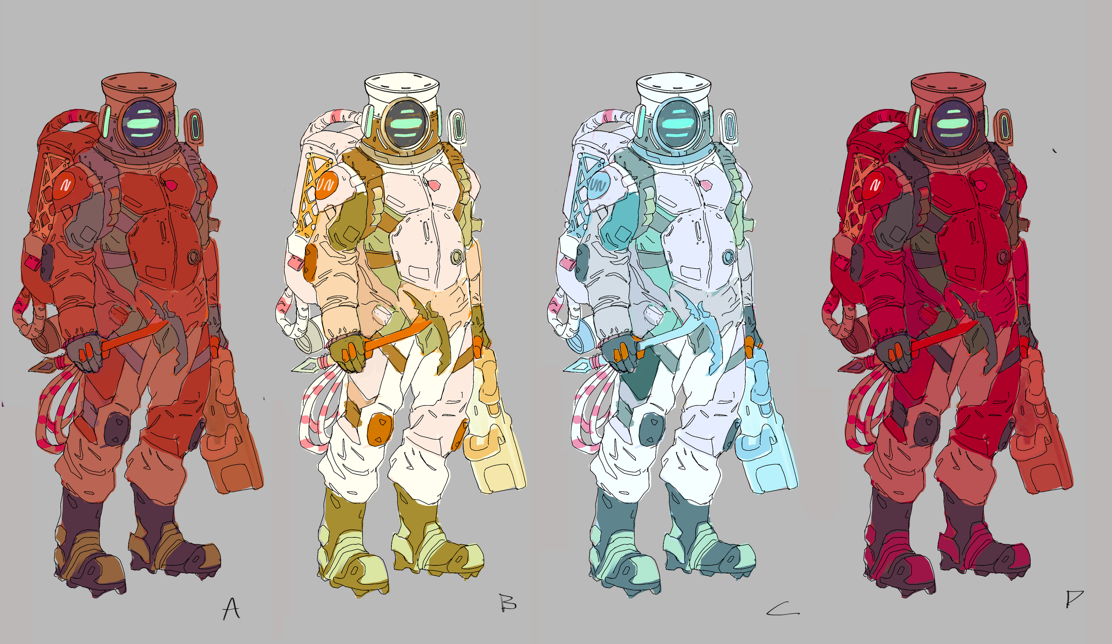 Character Design for Astronaut Protagonist who has crash landed on icy exoplanet. Created for in class demo.
