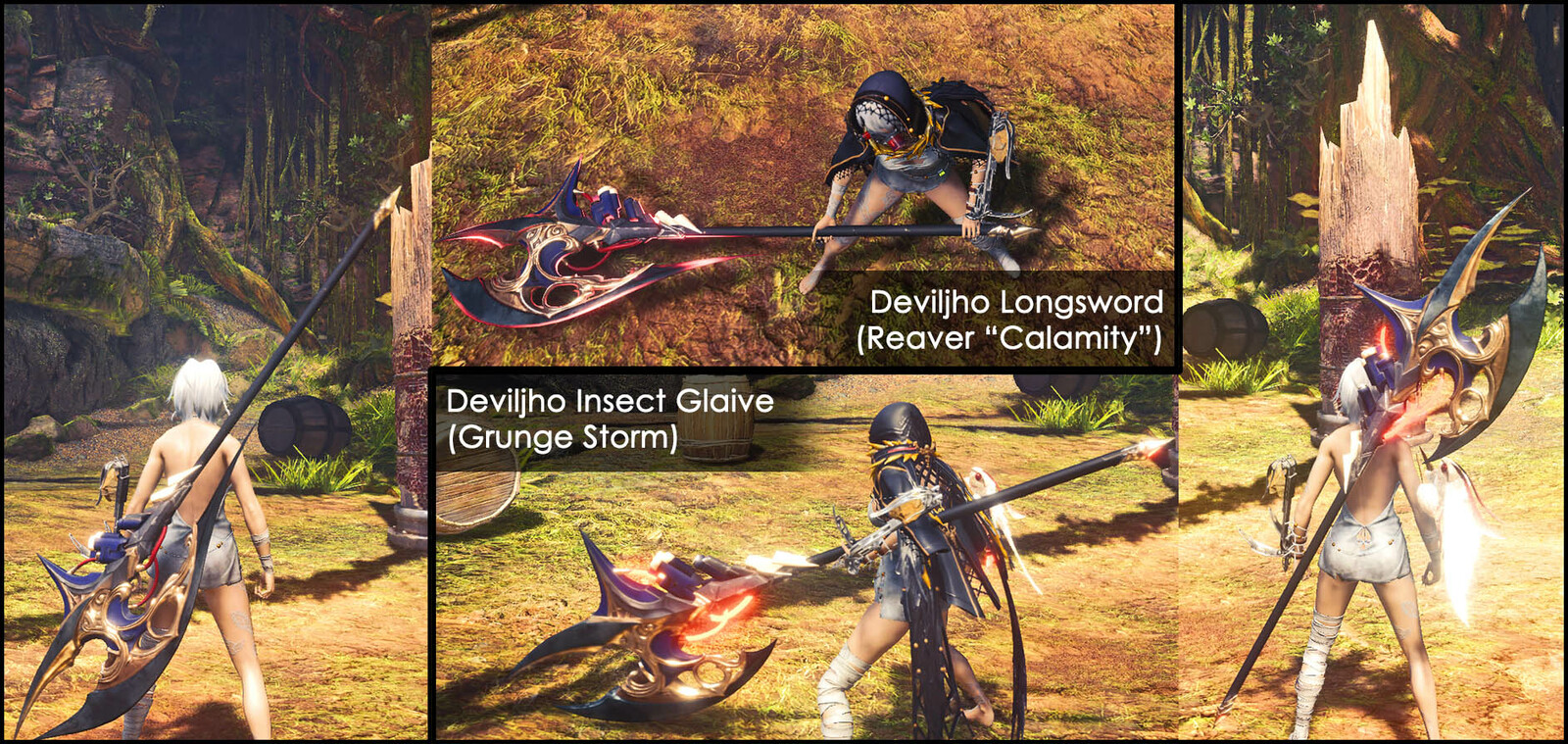 Samples of Io's halberd on the Longsword and Insect Glaive. The insect glaive glow changes color depending on what kinsect you have equipped.