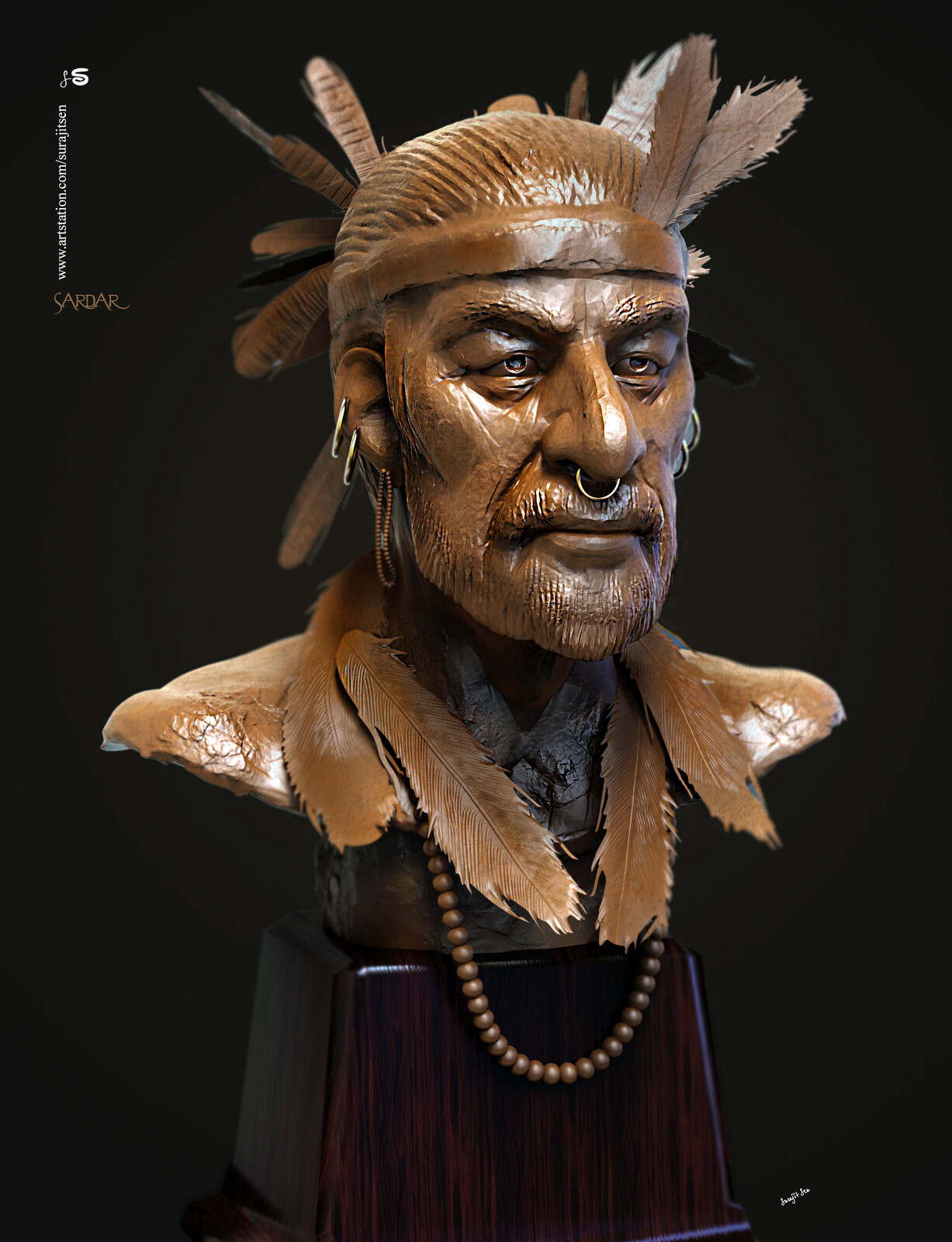 Sardar Digital Sculpture. I tried to make a form of my thoughts.
