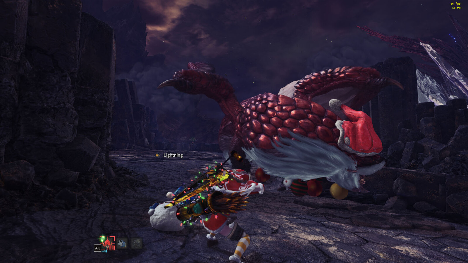 Shot in-game. Thanks to Nack for porting the armor from MHO and Lyra for the santa-Bazelgeuse. Screenshot by Asterisk.
