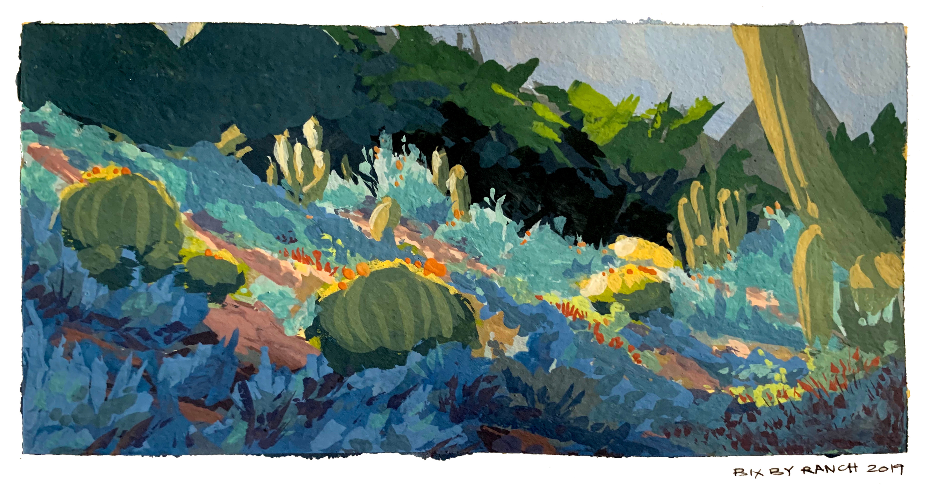 Painted at Bixby ranch.  I was walking around and came across a section of the gardens that the last bit of sun was still touching, so I frantically tried to paint it before it was gone.