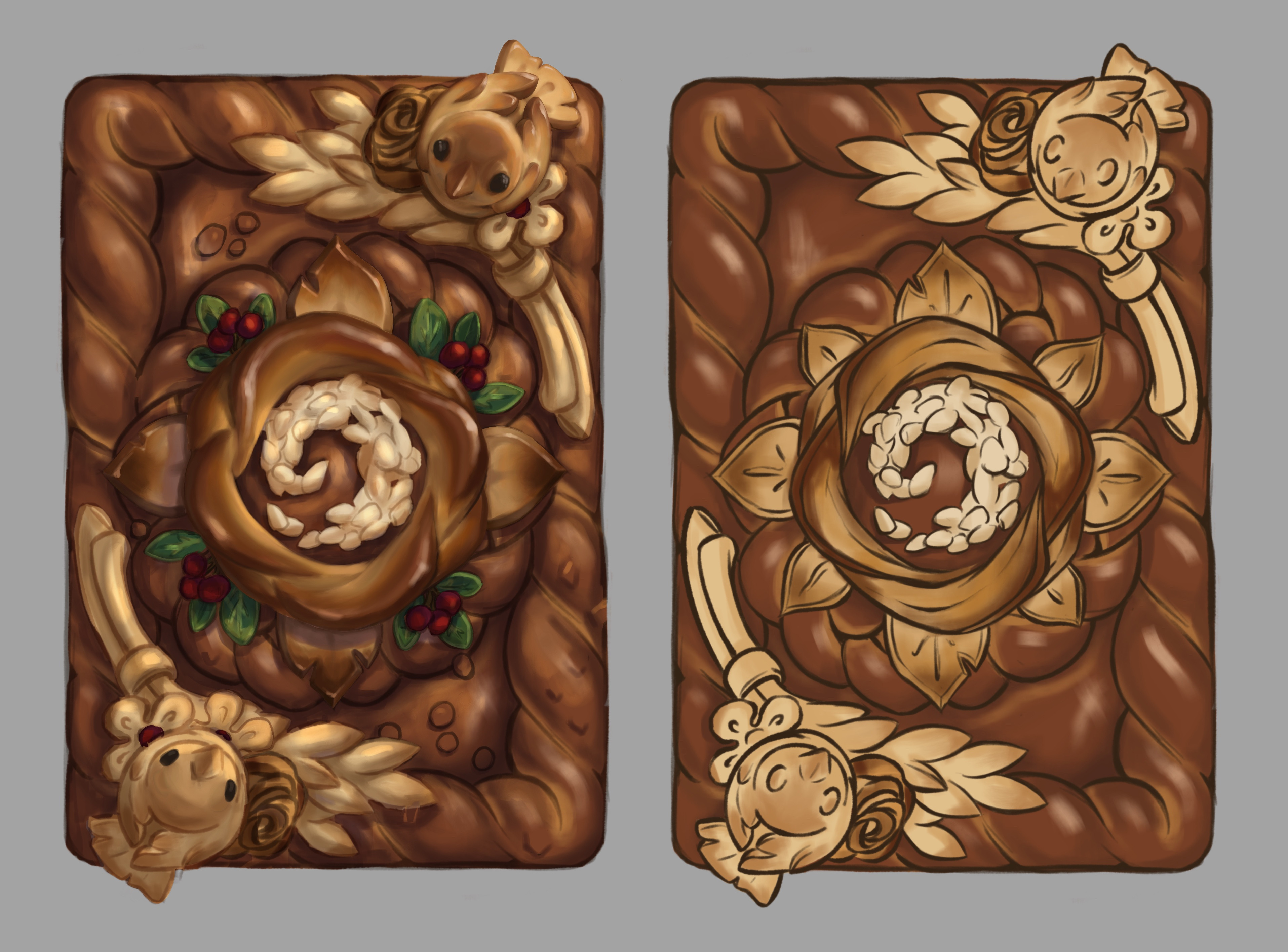 This was the evolution of the card on its way to the final card. The sesame seeds got turned into bread as well, for clarity.