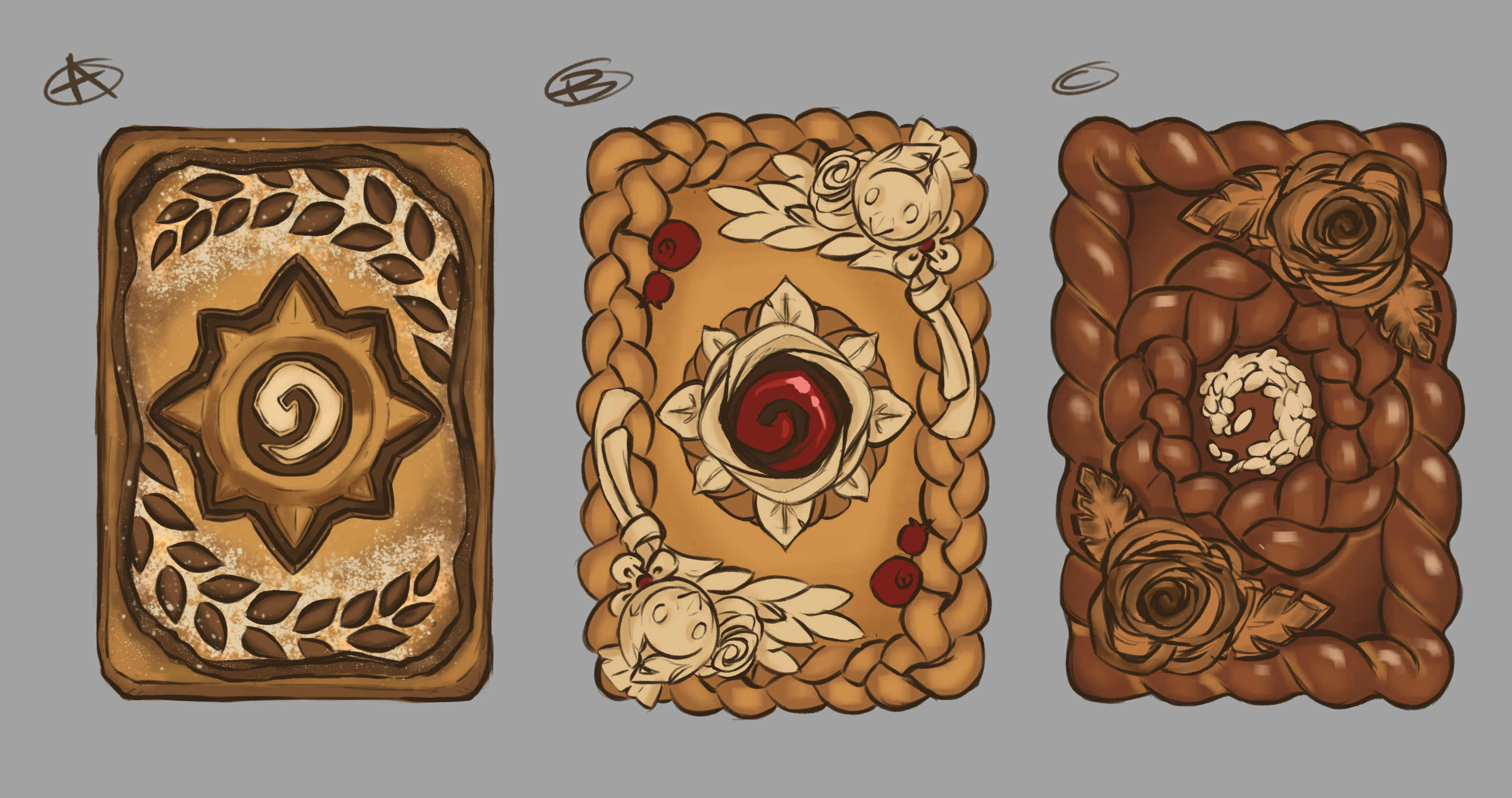 My top three ideas, A was entirely abandoned, which was a good call, but I still love that bread.