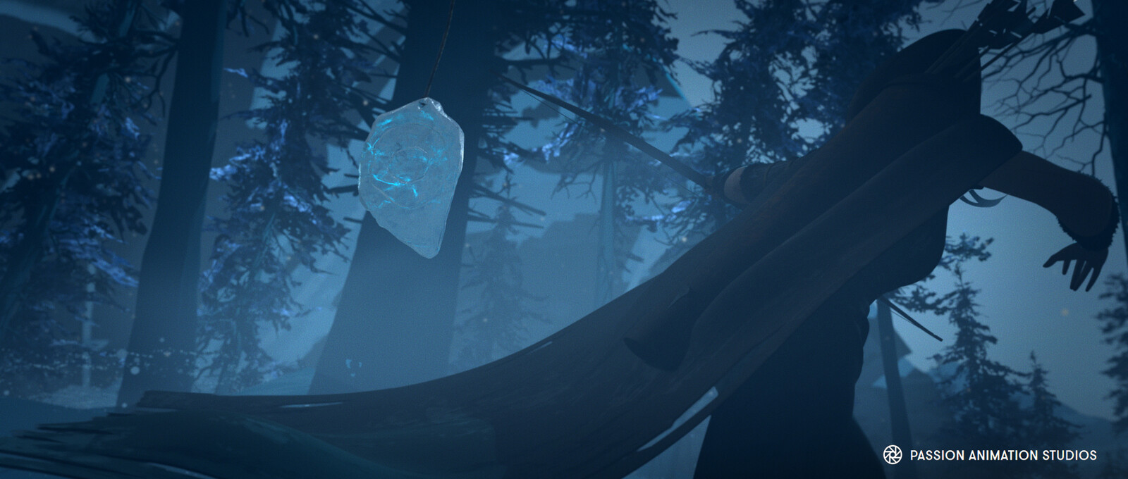 Bow, arrows, ice targets and BG trees modeling