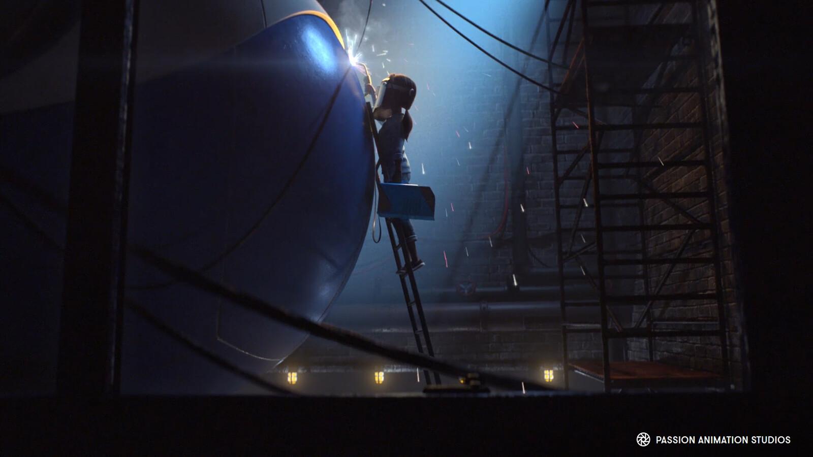 Giant robot, welder, welding mask and environment modeling