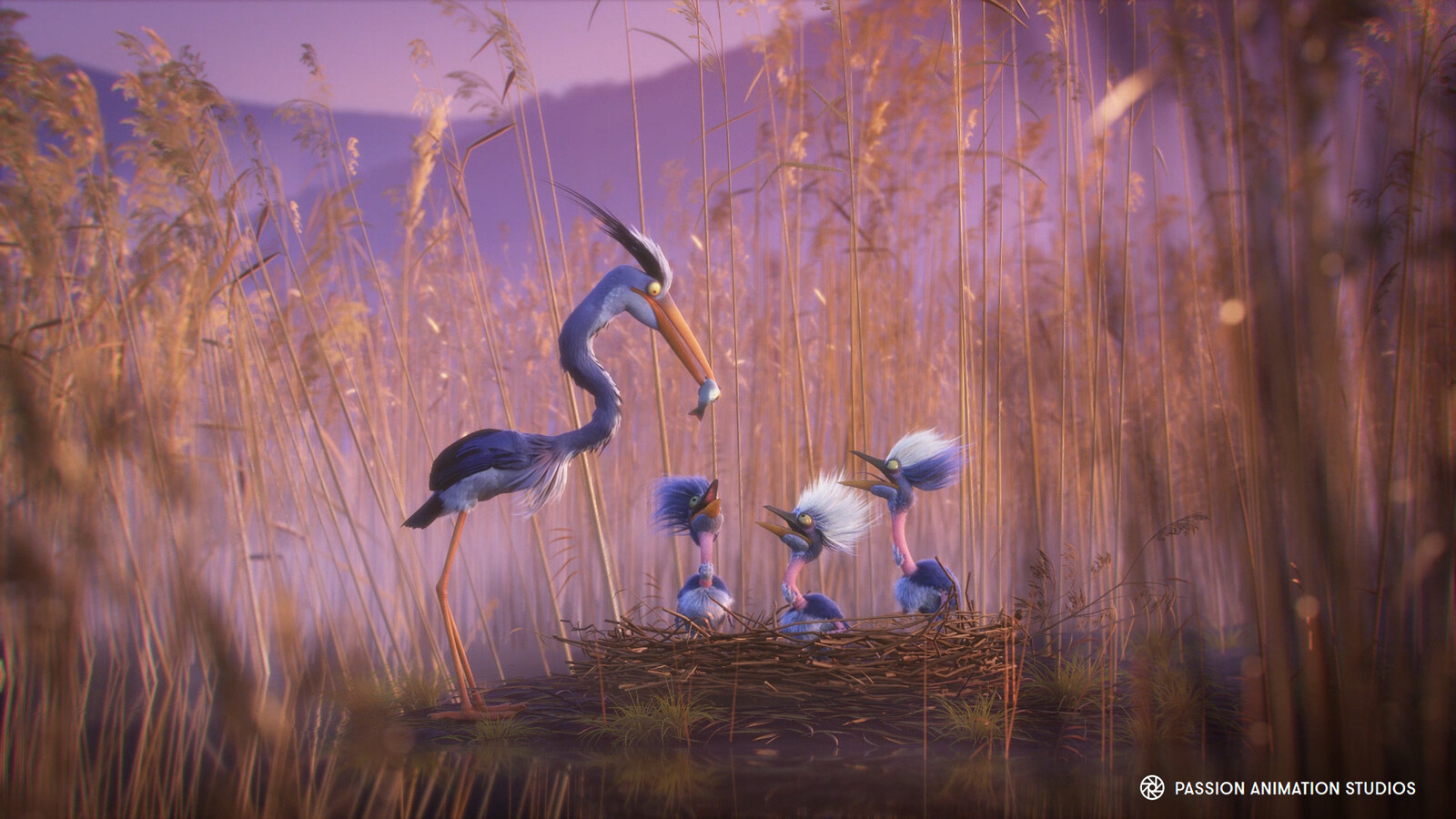 Nesting area, reeds and fish modeling