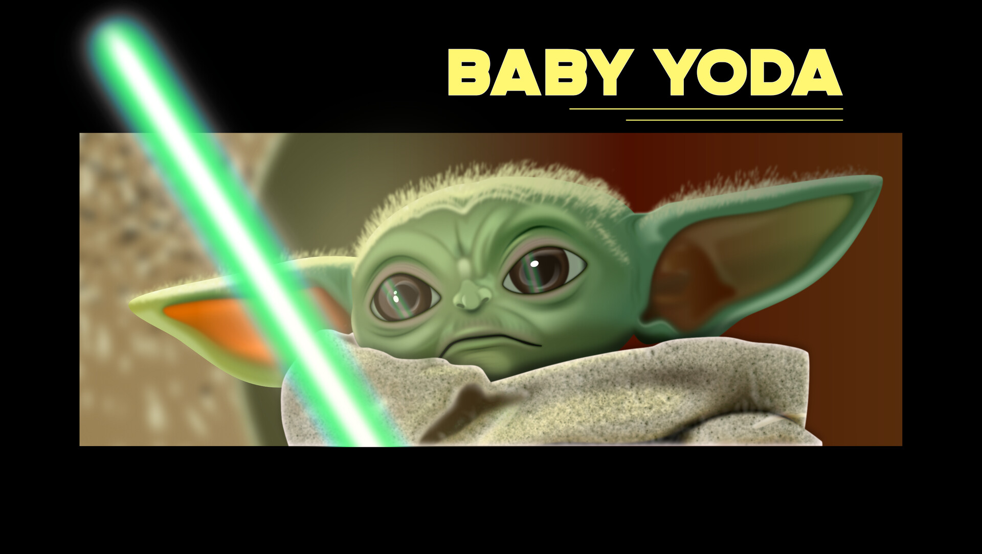 Baby Yoda's Epiphany. Affinity Designer. All vector except for hair.
