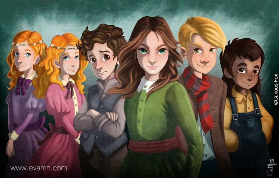 "The Lizzie's Gang: Backcover for ""The Magnificent Lizzie Brown"" series. Publisher @CuriousFoxBooks. Digital Art by evamh.com"