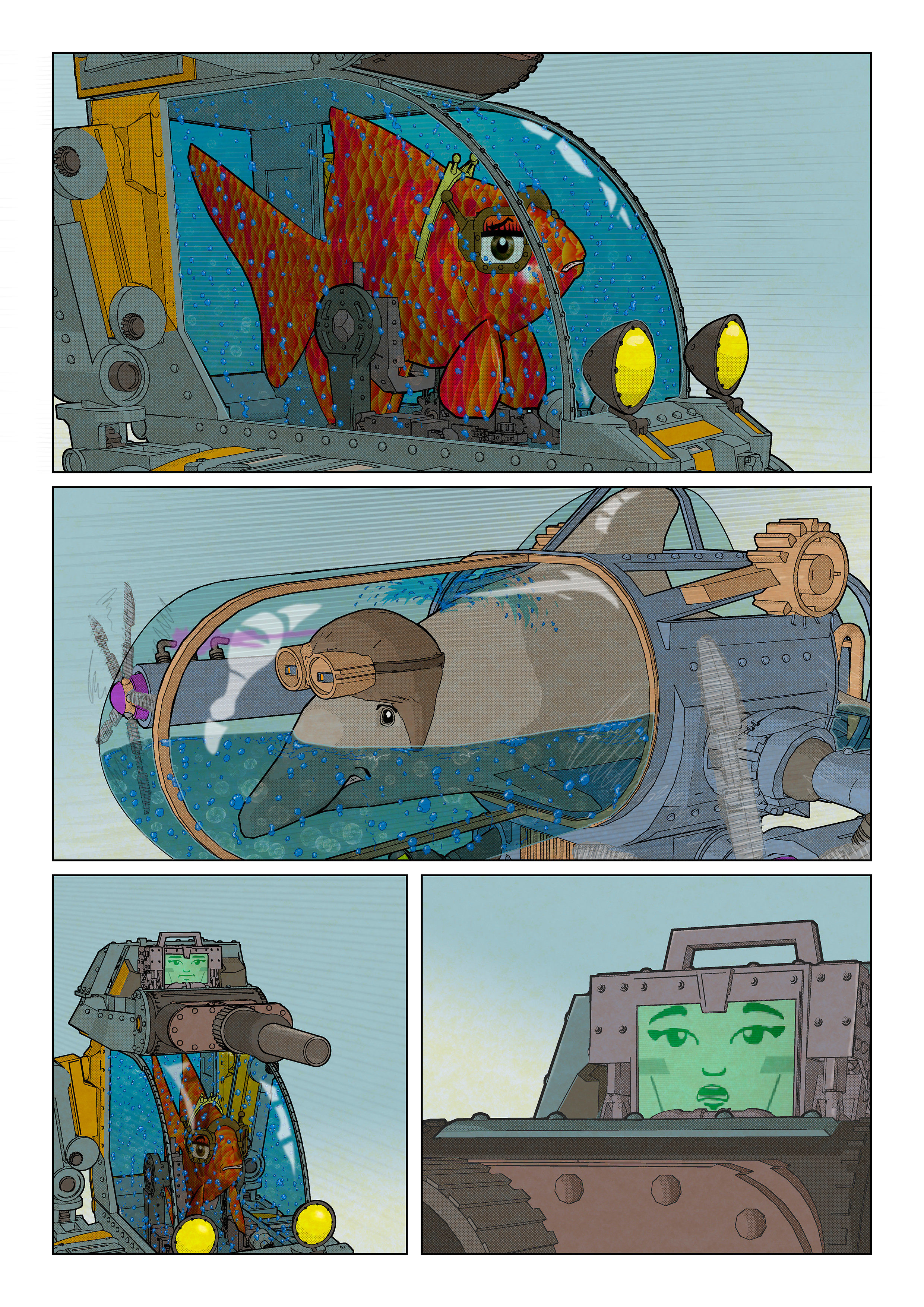 Page 3 from the FishTank & Dolphinarium comic book.