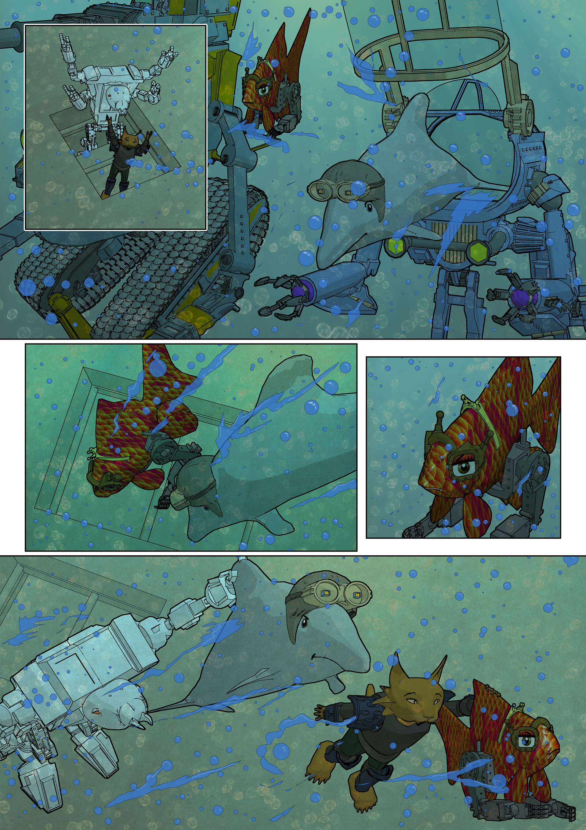 Page 18 from the FishTank & Dolphinarium comic book.