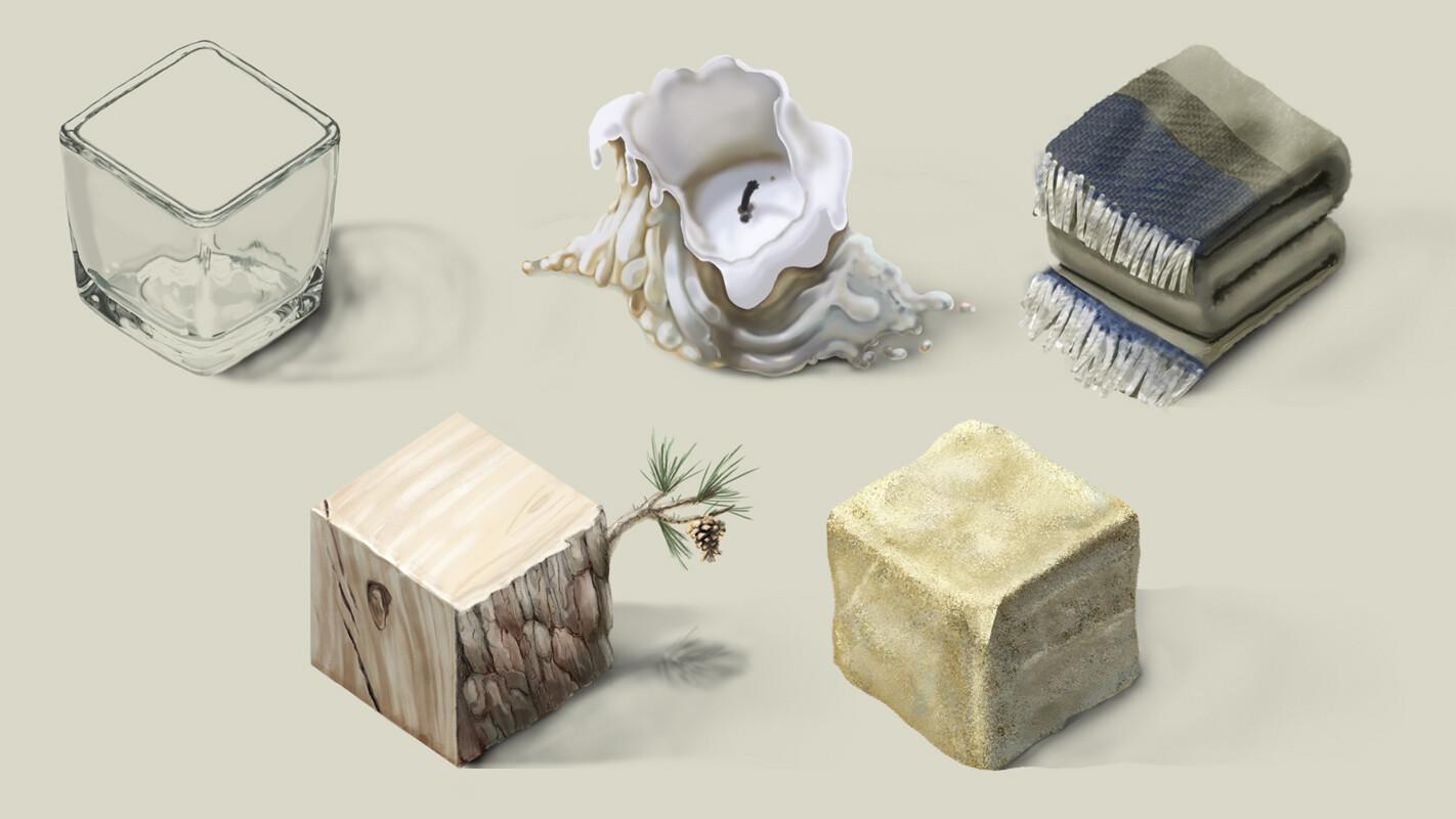 Glass, Wax, Blanket, Pinewood, Limestone