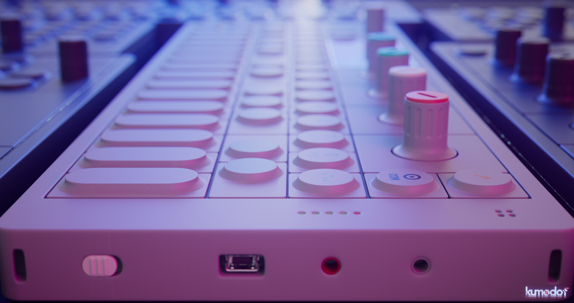 Side View of the unit. The only thing missing is the texture (text label) of Op-1 logo.